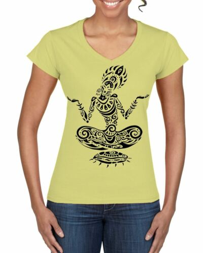 Tribal Yoga Lotus Pose Tattoo Large Print V Neck Women/'s T-Shirt Meditataion