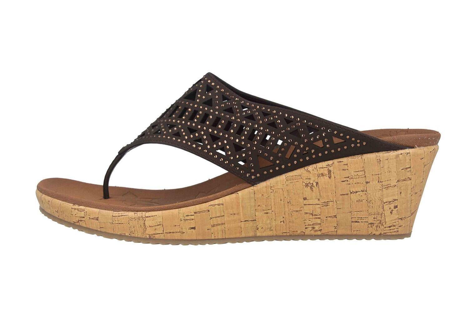 Skechers beverlee-Summer visit tira dedo en talla extragrande marrón 31715 choc grandes