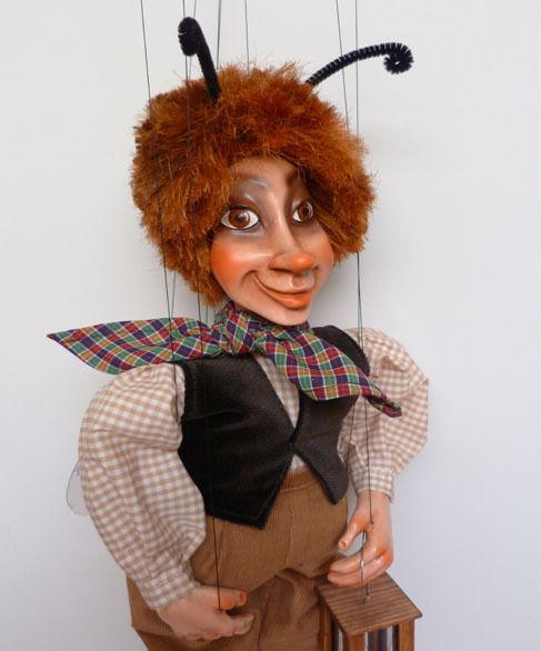 BEETLE BOY - original marionette, 18 inches tall, handmade from CZECH REPUBLIC