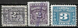 1906-35-CANADA-Used-THREE-LEAF-EXCISE-TAX-Postage-Due-2-Stamps-Sc-J2-J16-FX6