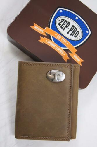 ZEP PRO NCAA Tennessee Volunteers Crazy Horse Leather trifold Wallet Tin Box