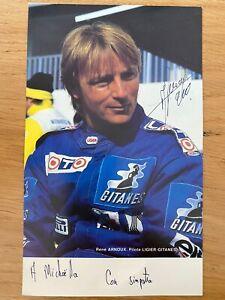 Cartolina Vintage Originale Renè Arnoux Ligier-Gitanes Autografata
