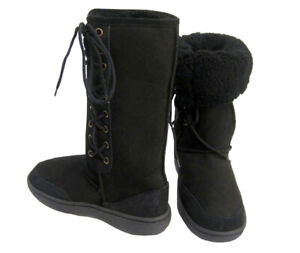 ed789a4df6b Ultra Tall Black Ugg Boots Australian Moulded Sole Laceup Wool ...