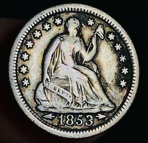 1853 Seated Liberty Half Dime 5C Arrows High Grade Choice US Silver Coin CC5937