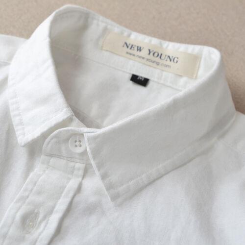 Mens Linen Cotton Long Sleeve Slim Fit Shirts Thin Sunscreen Travel shirts