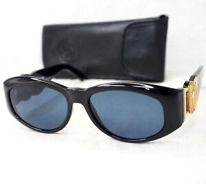 GIANNI-VERSACE-sunglasses-424-852BK-vintage-oval-black-gold-gray-big-medusa-head