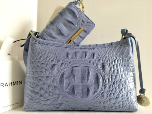 ⚘Brahmin Anytime Mini Satchel Periwinkle Leather Shoulder Evening Bag+Wallet NWT
