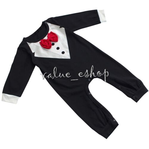 Toddler Kid Baby Boys Formal Suit Tuxedo Wedding Bow Shirt Romper Jacket Clothes
