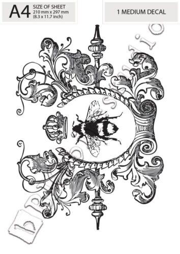 Queen Bee en corona #002 para artesanía y hazlo tú mismo Transferencia Agua Etiqueta impresión