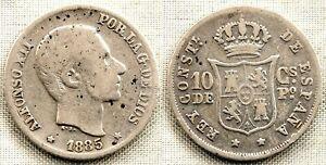Spain-alfonso Xii. 10 Centavos De Peso. 1885 Manila Plata 2,5 G.