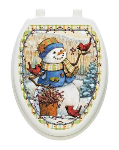 Toilet Tattoos Berry Snowman Vinyl Removable Hygienic Lid Decoration Christmas