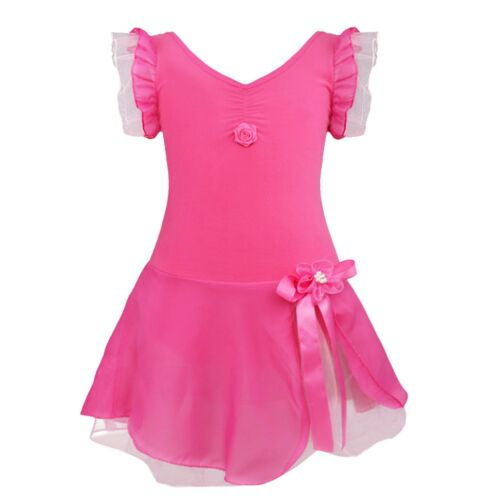 Toddler Girl Kid Gymnastics Dance Dress Ballet Tutu Skirt Leotard Dancewear 2-12