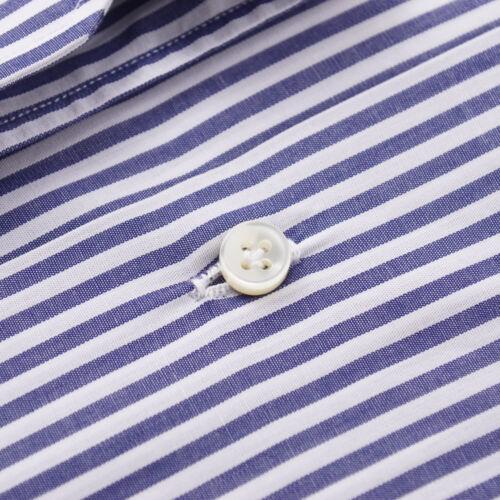 NWT $395 SARTORIO NAPOLI Navy Blue Bengal Stripe Cotton Dress Shirt 16 x 36