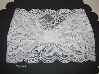 Wide White Stretch Lace Headband Boho Chic Bridal headpiece  Prom Hair Band