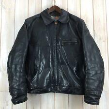 Vintage Aero Highwayman Steerhide Black Leather Motorcycle Biker Jacket 42 Large