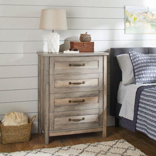 Modern Farmhouse 4 Drawer Dresser Chest Vintage Rustic Gray Antique Brass Metal