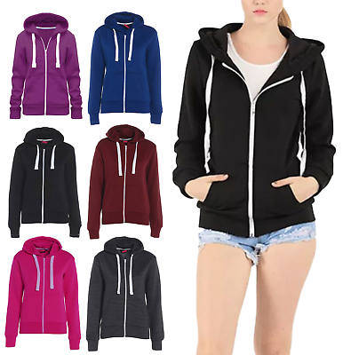 Womens Sweatshirt Zip Jacket Hoodie Jumper Ladies Plain Fleece Hooded Hoody Top HüBsch Und Bunt