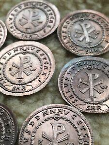 Lot-De-8-Double-Maiorina-de-Magnence-Reproduction-Denier-Solidus-Bijoux-drachme