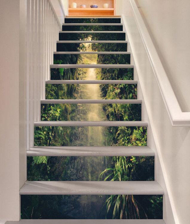 3D Tree sunshine 7 Stair Risers Decoration Photo Mural Vinyl Decal Wallpaper UK