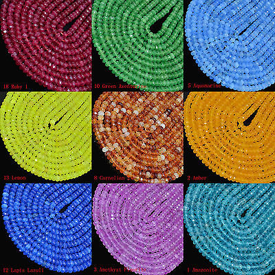 4x6mm Mulit-Color Faceted Agate Roundlle Gemstone Loose Beads 16""