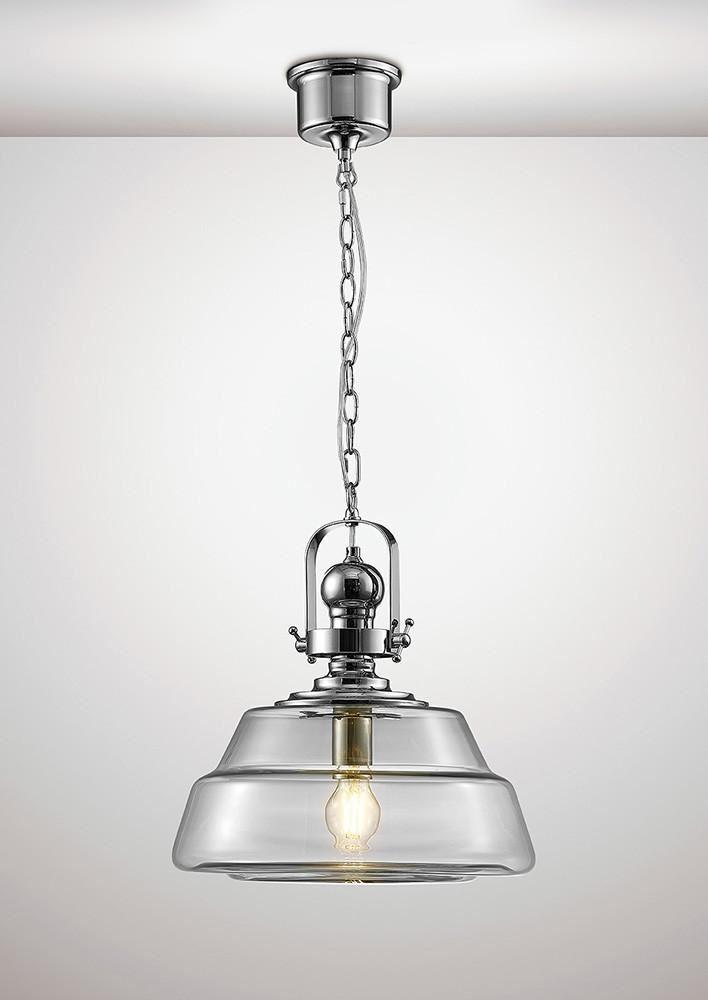DIYAS IL31592 pachas Ciondolo unico grande 1 LUCE E27 cromo lucido vetro trasparente