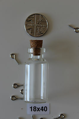 Small Glass Bottles Vial Jars and Cork Stopper (with peg screws) -Various Sizes