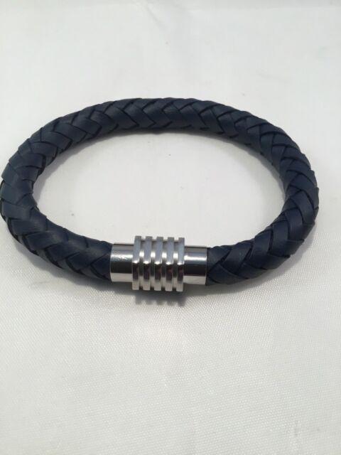 Armband Leder geflochten Edelstahl 21cm dunkelblau Herren Magnetverschluss