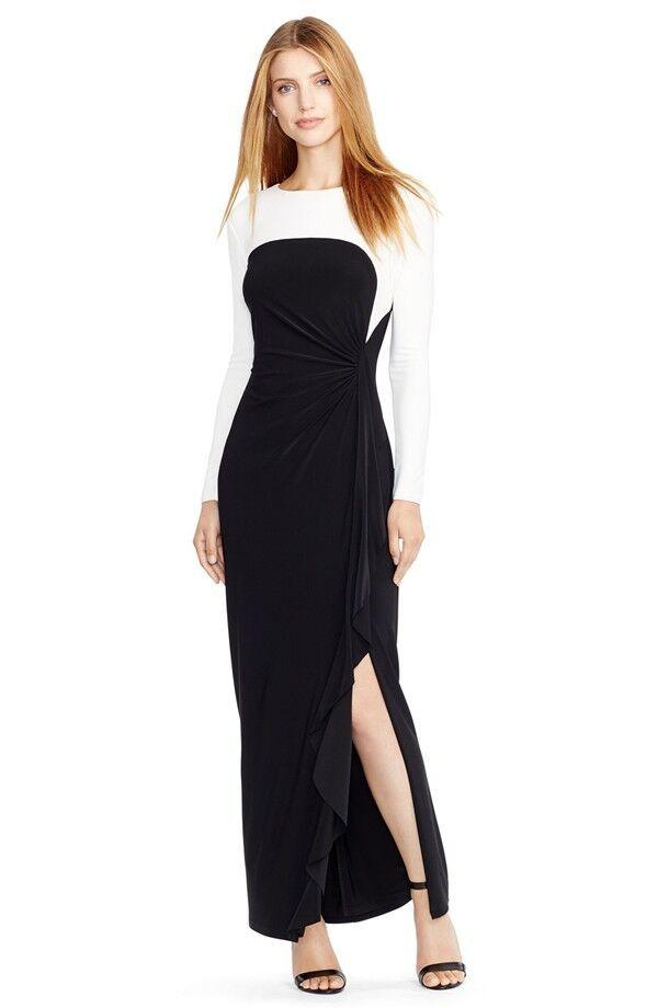 Ruched Farbeblock Jersey Gown  by Lauren Ralph Lauren (Größe 4P)