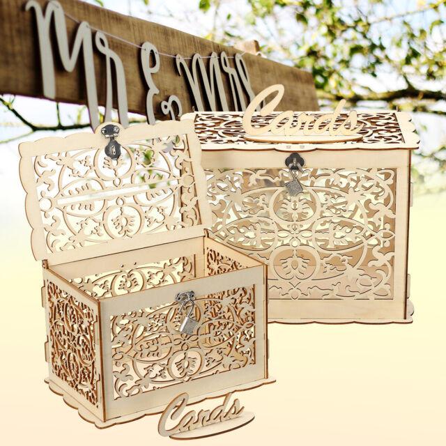 DIY Wooden Wedding Card Box Wedding Advice Box Lock Rustic Party Wedding Favors
