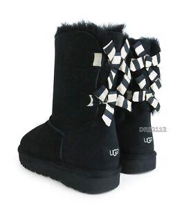 f4ce77c774e Details about UGG Australia Bailey Bow Stripe Black Suede Fur Boots Womens  Size 9 *NEW*
