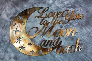 Love You To The Moon And Back Wall Art love you to the moon and back metal wall art   ebay
