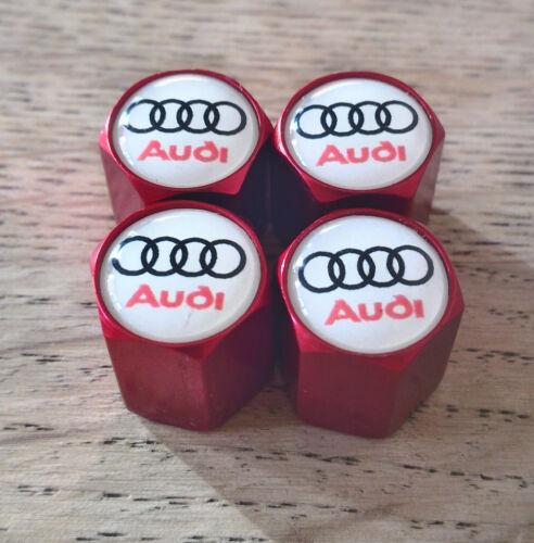 Tapones de polvo AUDI Rojo Rueda Válvula exclusivo para nosotros todos los modelos RS TT S LINE WHI logotipo