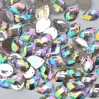 13*18 mm Sewing TEARDROP CRYSTAL AB Flatback Rhinestones Sew On Crystals 25 PCS