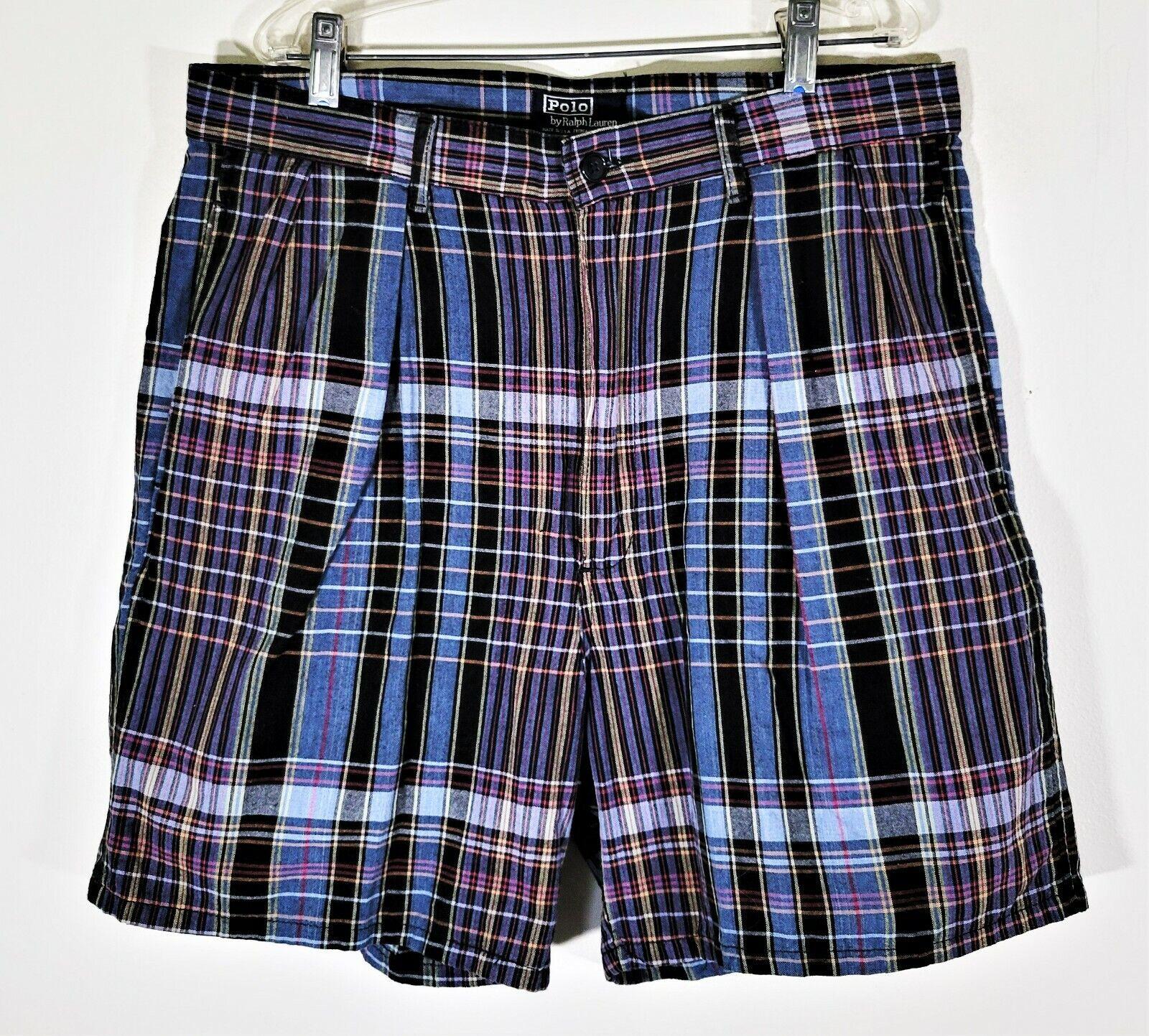 Vintage 80s 90s POLO RALPH LAUREN Madras Shorts V… - image 1