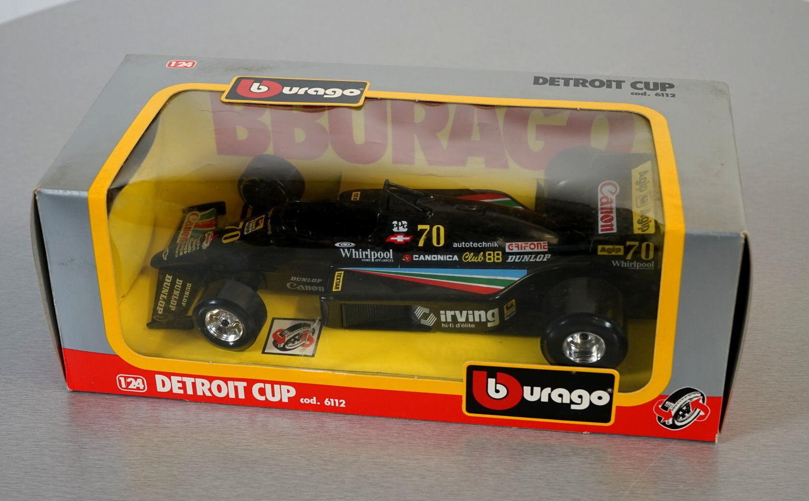 Burago 1 24 Detroit Cup - 6112-les-Cast Racing Car Scale Modèle Voiture Neuf dans sa boîte
