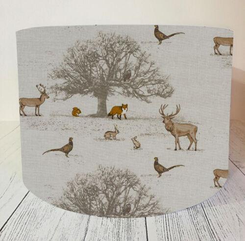 Lampshade made w// Fryetts Tatton Woodland Animals Countryside Neutral Beige