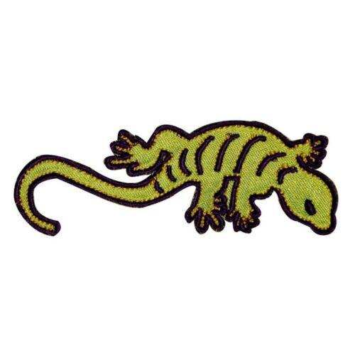 Green Reptile Lizard Patch Gecko Salamander Striped Embroidered Iron On Applique