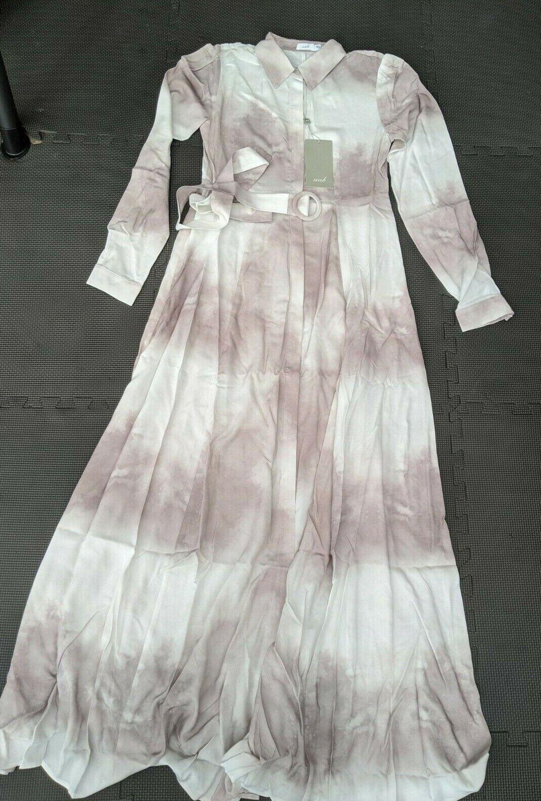 AAB Abaya Dye Maxi Shirt Dress Belted - SIZE XS - 58'' Long