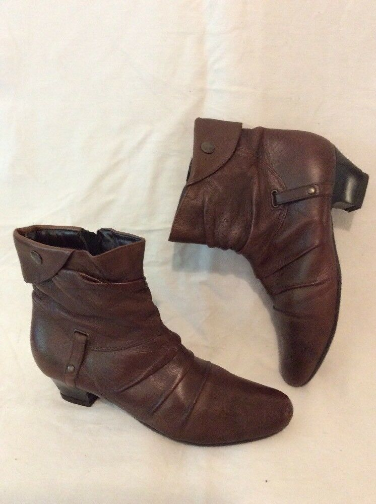 Cara London Brown Ankle Leather Boots Size 37