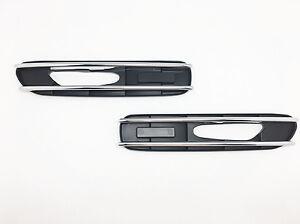2-Chrome-Black-Side-Grill-Grille-Fender-Vents-Stick-Cover-For-BMW-E60-E61-5er