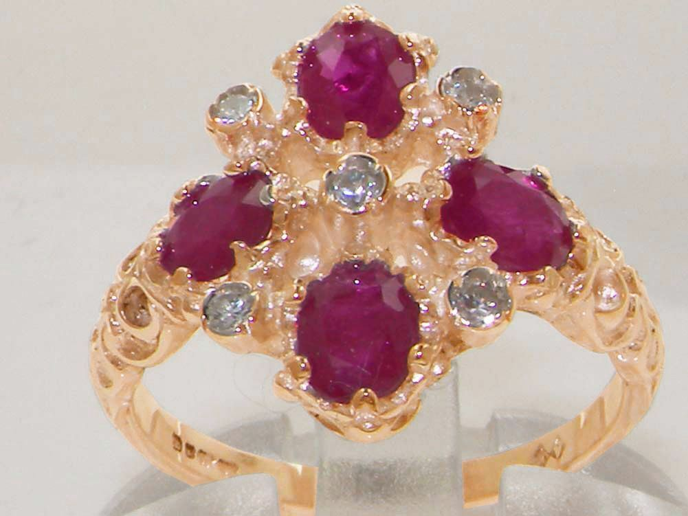 Solid 9ct pink gold Natural Ruby & Diamond Vintage Ring