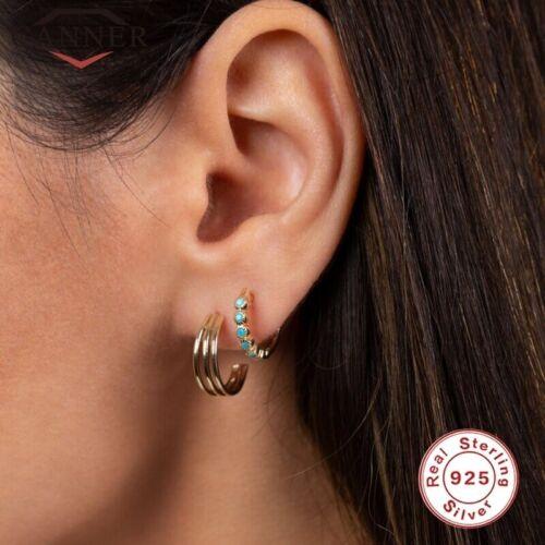 Damen Ohrringe Creole Creolen 925 Silber Türkis Hoop Turquoise Rund
