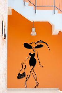 Wall Stickers Vinyl Decal Girl In Black Dress And Hat With Purse (z2025)