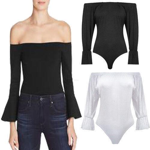 Ladies Off Shoulder Plain Stretch Long Bell Sleeve Bardot Bodysuit Leotard