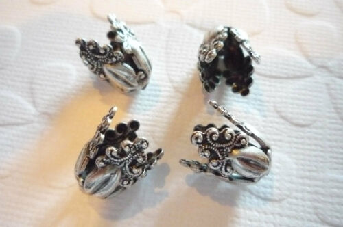Oxidized Sterling Silver Plated Brass Fancy Flourish Bead Caps 8mm Opening Qty 2