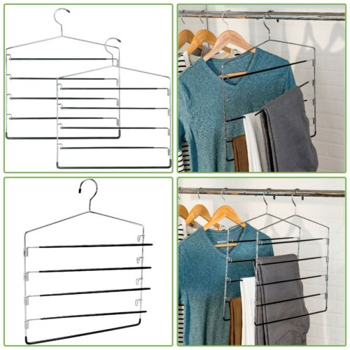 2 Pk 5 Tier Chrome Swinging Arm Hanging Metal Pant Rack Closet Clothes Organizer