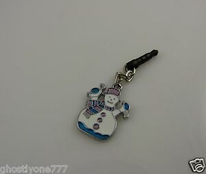 Snowman-cute-enamel-charm-cell-phone-or-charm-ear-cap-dust-plug-Christmas