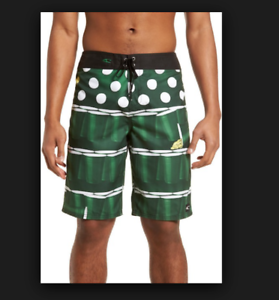 New O'NEILL board shorts swim trunk St Paddy's Day beer ping pong Green 32 34 36