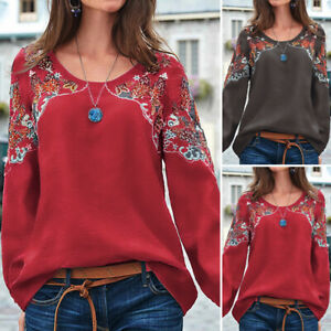 Mode Femme Haut Manche Longue Col Rond Casual Impression Ample Tops Shirt Plus