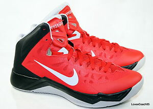 Nike Zoom Hyperquickness Mens Athletic Basketball Shoes Size 10 Red Black Gray